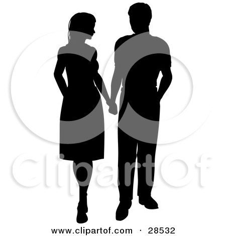 Clipart Illustration of a Black Silhouetted Couple Holding Hands And Looking At Each Other by KJ Pargeter