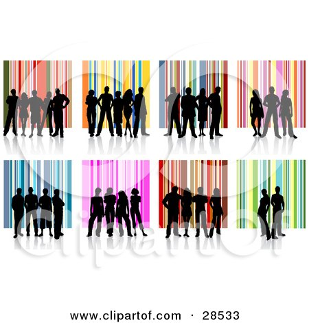 Clipart Illustration of a Set Of Groups Of Black Silhouetted People Standing Over Colorful Striped Backgrounds by KJ Pargeter