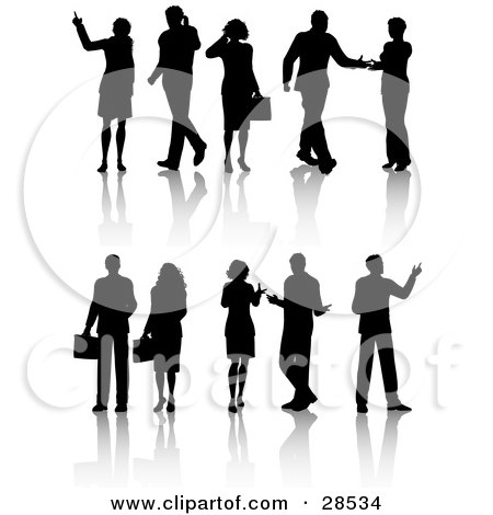 Black Silhouetted Business Men And Women In Different Poses Posters, Art Prints