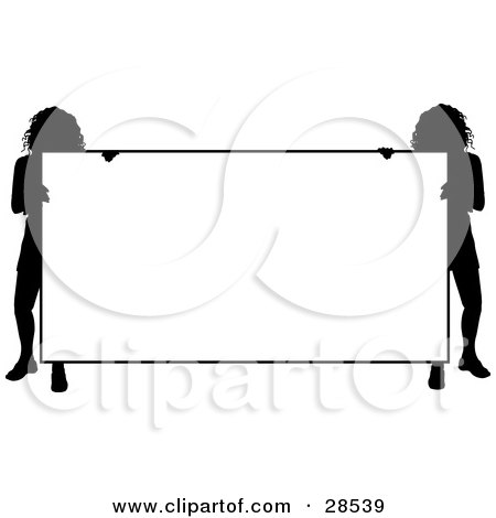 Clipart Illustration of Two Silhouetted Women Holding A Big Blank White Sign by KJ Pargeter
