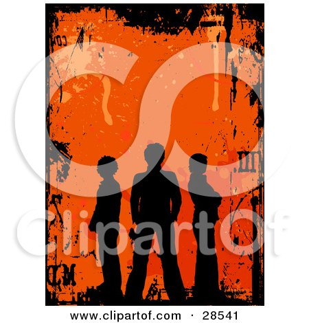 Clipart Illustration of Three Black Silhouetted People Standing Over An Orange Background With Splatters And Scratches, Bordered By Black Grunge by KJ Pargeter