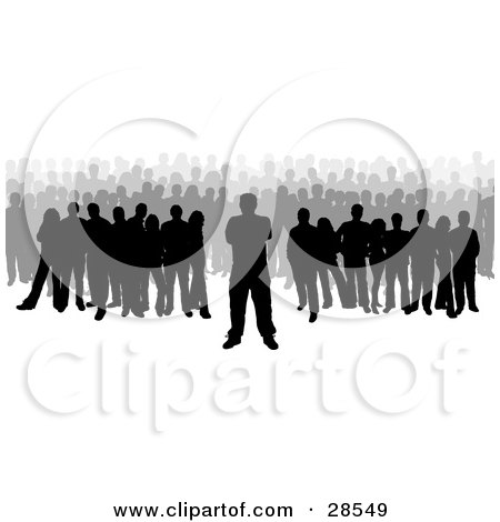 Clipart Illustration of a Large Crowd Of Black And Gray Silhouetted People by KJ Pargeter