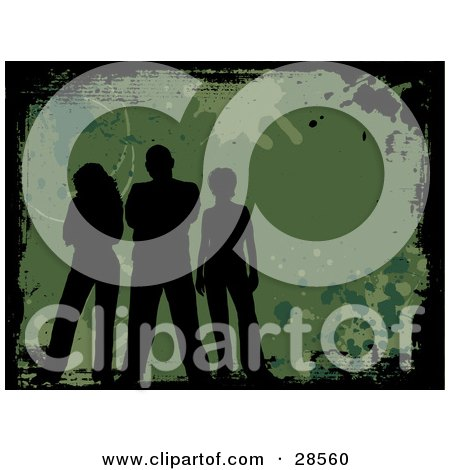 Clipart Illustration of Three Black Silhouetted People Standing On A Green Background With Splatters And A Black Grunge Border by KJ Pargeter