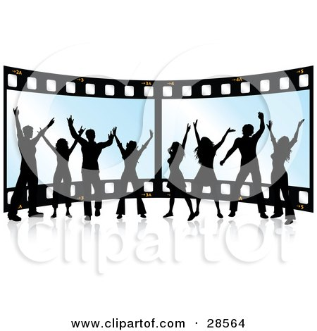 Clipart Illustration of a Happy Group Of Eight Black Silhouetted People Standing In Front Of A Giant Film Strip by KJ Pargeter