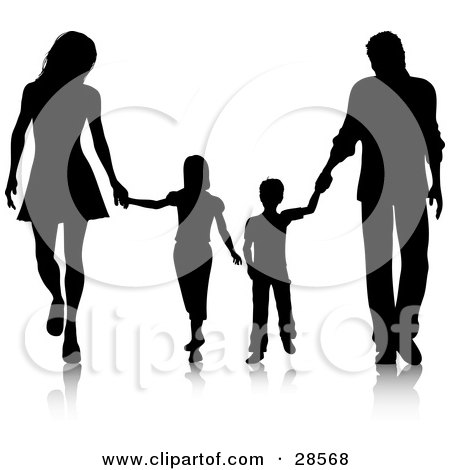 black silhouetted family walking together and holding clipart of dogs sitting under an umbrella clipart of dog toys