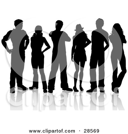 Clipart Illustration of a Group Of Six Black Silhouetted Adults Standing Together by KJ Pargeter
