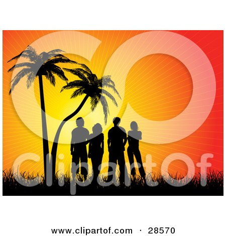 Clipart Illustration of Four Black Silhouetted People Standing In Grass Under Palm Trees And Watching An Orange Tropical Sunset by KJ Pargeter