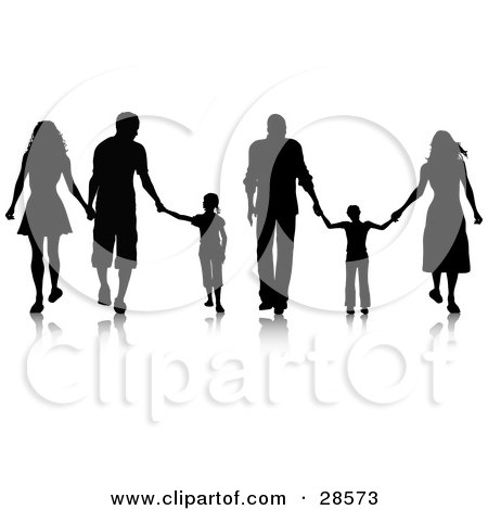 Clipart Illustration of Black Silhouetted Families Walking And Holding Hands by KJ Pargeter