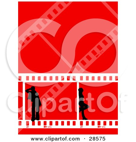 Clipart Illustration of Two Black Silhouetted People Standing In Frames Of Film Strips, Over A Red Background by KJ Pargeter
