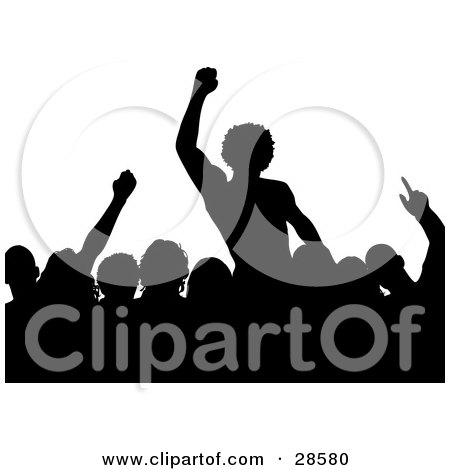 Clipart Illustration of Silhouetted People In An Audience, Waving Their Hands In The Air, Over White by KJ Pargeter