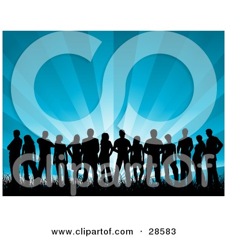 Clipart Illustration of a Group Of Black Silhouetted People Standing In Grass, Over A Bursting Blue Background by KJ Pargeter