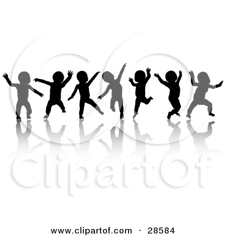 Clipart Illustration of Seven Black Silhouetted Dancing Babies On White, With Reflections by KJ Pargeter