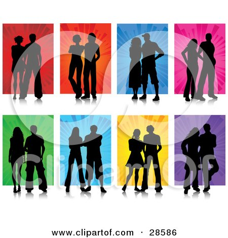 Clipart Illustration of a Set Of Eight Black Silhouetted Couples Posing Against Red, Orange, Blue, Pink, Green, Yellow And Purple Backgrounds by KJ Pargeter