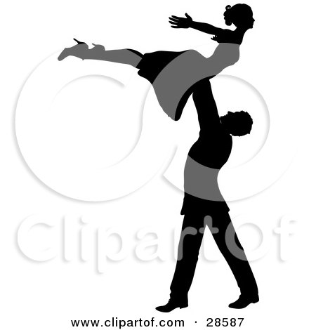 Clipart Illustration of a Black Silhouetted Ballroom Dancing Couple, The Man Lifting The Woman Above His Head by KJ Pargeter