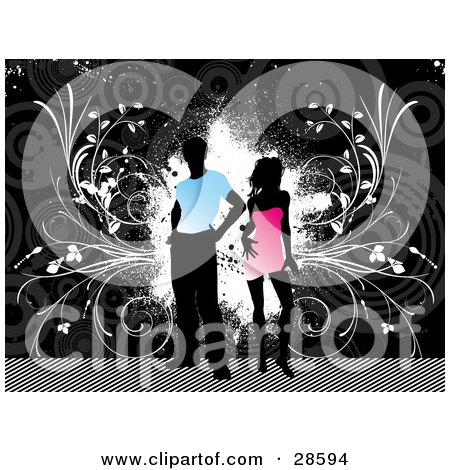 Clipart Illustration of a Black Silhouetted Man In A Blue Shirt, Standing With A Woman In A Pink Dress, Over A Grunge Gray Background With White Splotches And Vines by KJ Pargeter
