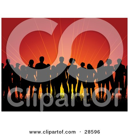 Clipart Illustration of a Group Of Black Silhouetted People Standing In Grass, Against A Red Sunrise Or Sunset Background by KJ Pargeter