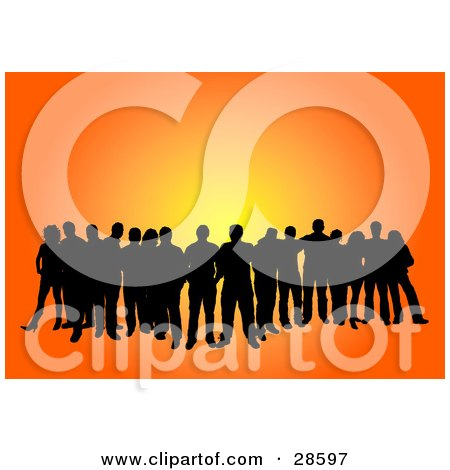 Clipart Illustration of a Group Of Black Silhouetted People Standing Over An Orange Background by KJ Pargeter