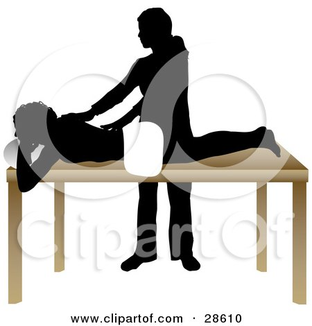 Clipart Illustration of a Silhouetted Masseuse Massaging A Client's Back In A Spa by KJ Pargeter