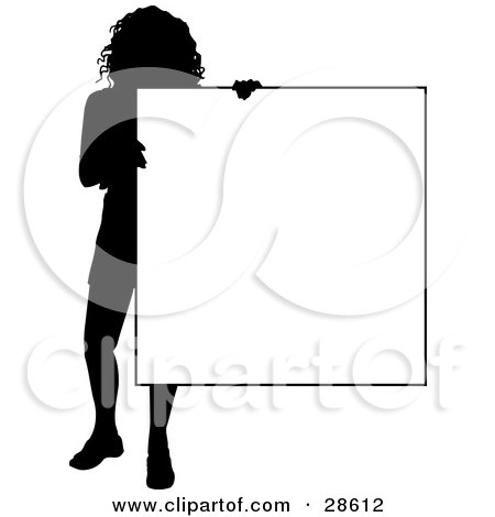 Clipart Illustration of a Silhouetted Woman Standing And Holding A Blank Sign, Over White by KJ Pargeter