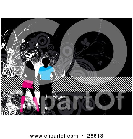 Clipart Illustration of Two Black Silhouetted People In Blue And Pink Clothes, Over A Black Background With Gray And Black Circles, And Vines And A Striped Band by KJ Pargeter