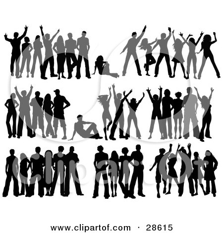 Clipart Illustration of a Set Of Seven Black Silhouetted People In ...