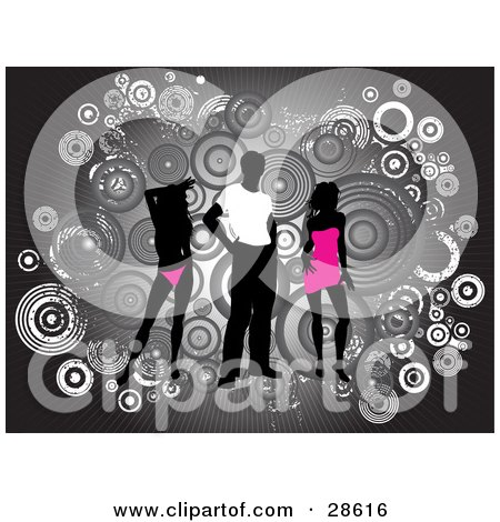Clipart Illustration of a Black Silhouetted Man In A White Shirt, Standing Between Two Silhouetted Women In Pink Clothes, Over A Bursting Gray Background With Grunge Circles by KJ Pargeter