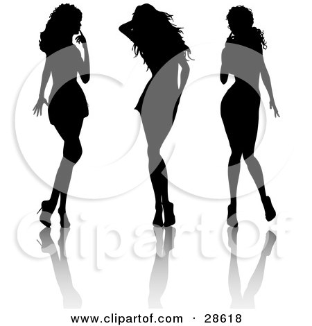 Clipart Illustration of Three Sexy Black Silhouetted Women In High Heels, Standing In Different Poses by KJ Pargeter