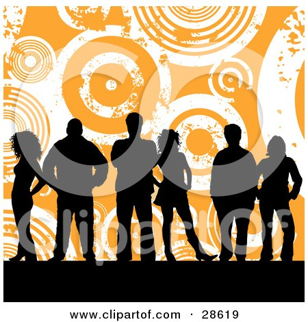 Clipart Illustration of a Group Of Six Black Silhouetted People Standing Over An Orange Background With White Grunge Circles by KJ Pargeter