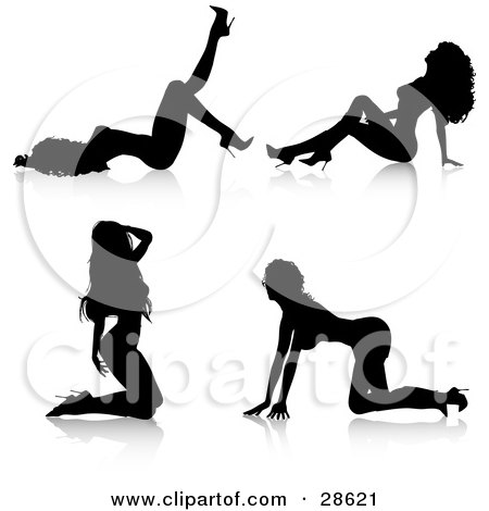Sexy Black Silhouetted Women, An Exotic Dancer, In High Heels, In Four Different Poses On The Ground Posters, Art Prints