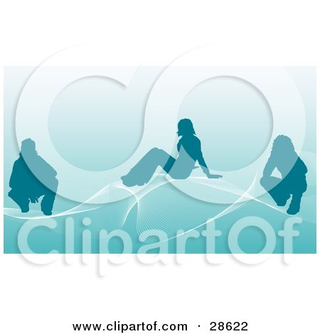 Clipart Illustration of Three Silhouetted People On White Waves Over A Blue Background by KJ Pargeter