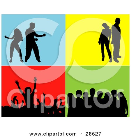 Clipart Illustration of a Set Of Silhouetted People In A Crowd, Group, Standing And Dancing Over Blue, Yellow, Red And Green Backgrounds by KJ Pargeter
