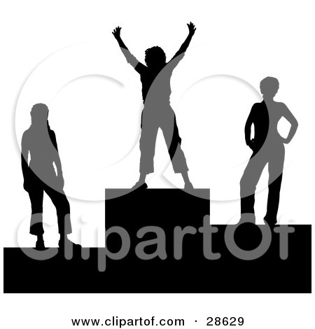 Clipart Illustration of a Black Silhouetted First Place Winner Standing On The First Place Platform With Runners Up On The Sides by KJ Pargeter