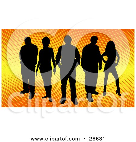Clipart Illustration of a Group Of Five Black Silhouetted People Standing Over A Gradient Yellow And Orange Background With Dots by KJ Pargeter