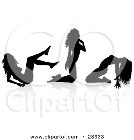 Clipart Illustration of a Sexy Black Silhouetted Female Stripper In Three Different Poses by KJ Pargeter