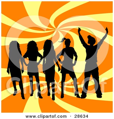 Clipart Illustration of a Group Of Five Black Silhouetted Teenagers Standing Over A Swirling Yellow And Orange Background by KJ Pargeter
