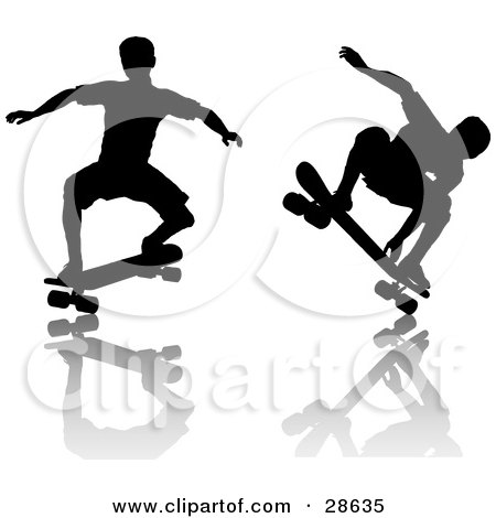 Clipart Illustration of Black Silhouetted Skateboarders Doing Tricks Over A Reflective Surface by KJ Pargeter