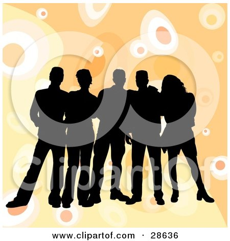 Clipart Illustration of a Group Of Five Black Silhouetted Friends Standing Over A Retro Orange Background With Circles by KJ Pargeter