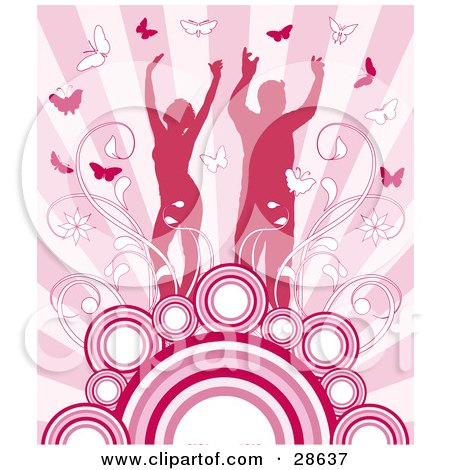 Clipart Illustration of a Happy Silhouetted Couple Surrounded By Vines And Butterflies, Standing On Circles On A Background Of Pink Rays by KJ Pargeter