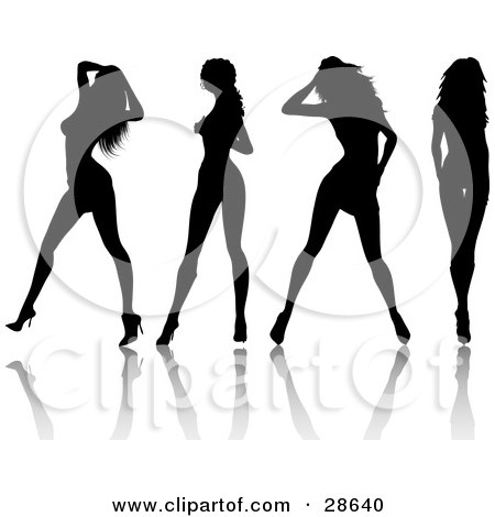 Clipart Illustration of Four Sexy Black Silhouetted Women In High Heels, Standing In Different Poses by KJ Pargeter