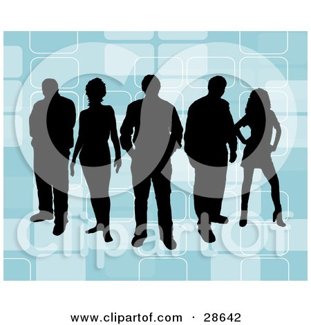 Clipart Illustration of a Group Of Five Black Silhouetted People Standing Over A Retro Blue Background With Rectangle Designs by KJ Pargeter