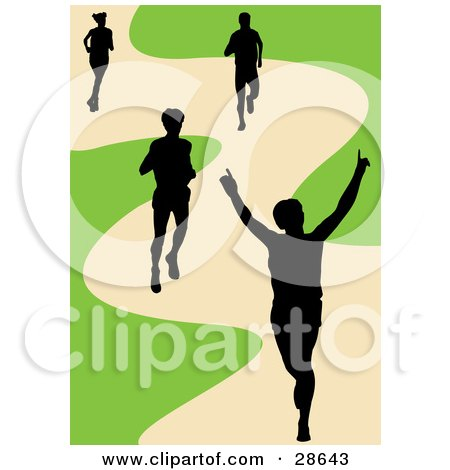 Clipart Illustration of a Black Silhouetted Runner Holding His Arms Up While Crossing The Finish Line, His Competitors Behind Him On A Track by KJ Pargeter