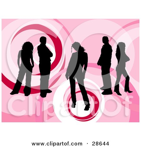 Clipart Illustration of a Group Of Five Black Silhouetted People Standing Over A Retro Pink Background With Circle Designs by KJ Pargeter