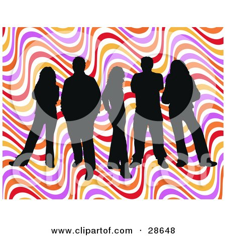 Clipart Illustration of a Group Of Five Black Silhouetted People Standing Over A Colorful Wavy Retro Background by KJ Pargeter