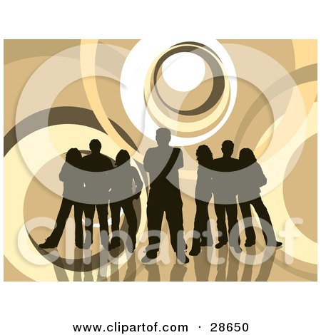 Clipart Illustration of a Group Of Five Dark Brown Silhouetted People Standing Over A Retro Brown And White Background With Circles by KJ Pargeter
