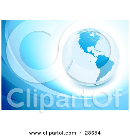 Clipart Illustration of a Blue Globe Over White On A Background With Waves by beboy