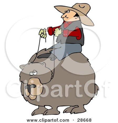 Clipart Illustration of a White Cowboy Man Riding On The Back Of A Bear, Symbolizing Control by djart