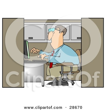 Clipart Illustration of a White Businessman Employee Working On A Computer In An Office Cubicle by djart