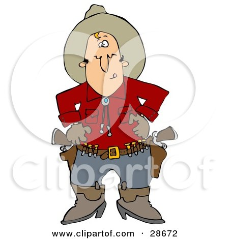 Clipart Illustration of a White Cowboy In A Red Shirt, Standing At The Ready, Prepared To Pull Both Pistils In His Belt And Shoot by djart