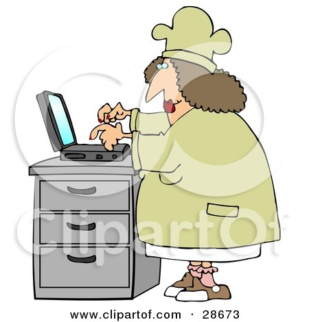 Clipart Illustration of a Chubby Female Chef In A Hat And Coat, Typing Her Recipes Into A Laptop And Putting Them On Her Internet Website by djart