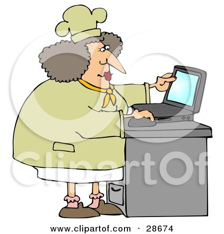 Clipart Illustration of a Chubby Female Chef In A Hat And Coat, Using A Laptop Computer In A Kitchen To Browse The Internet For Good Recipes by djart
